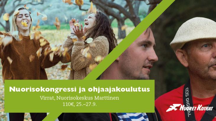 """Iloisia nuoria lehtisateessa ja aikuinen ohjaaja, päällä teksti """"Nuorisokongressi ja ohjaajakoulutus, Virrat, Nuorisokeskus Marttinen, 110 €, 25.-27.9."""""""