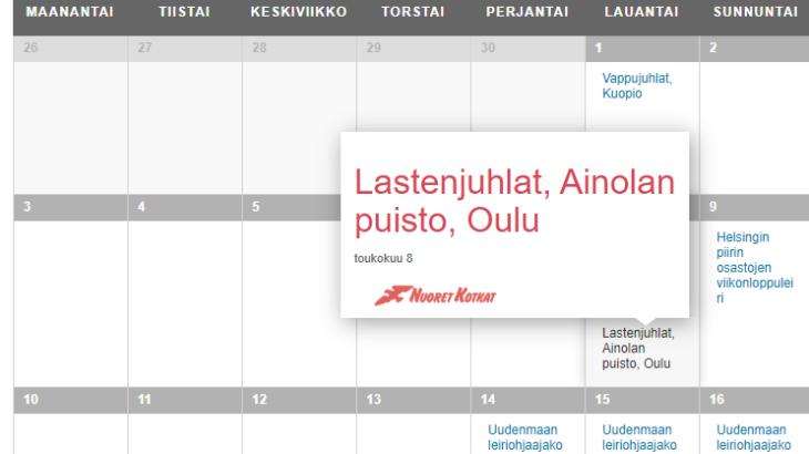 Tapahtumakalenteri avattuna Oulun lastenjuhlien kohdalta